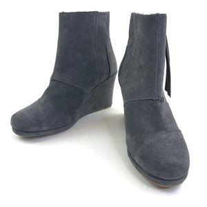 TOMS High Ankle Boots Desert Wedge Dark Gray Sz 8